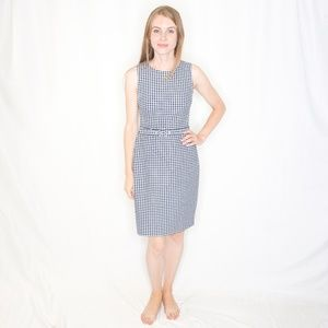 J. CREW Gingham Check Belted Blue Picnic Dress 915